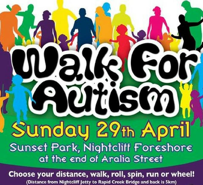 The Walk for Autism will be held Sunday 29th April. Sun Set Park, Nightcliff Jetty, Casuarina Drive. From 7:00 am registration for a 8am start.